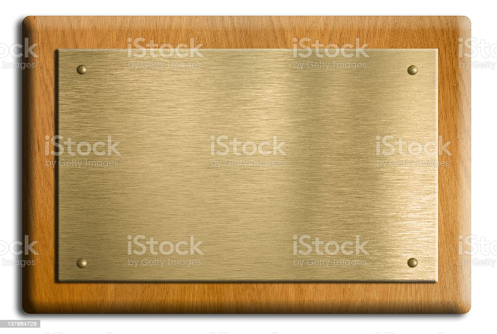 gold plate plaque isolated on white with clipping path stock photo
