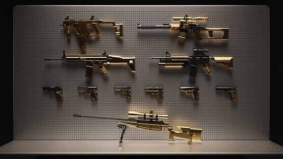 Gold Plated Guns Firearms On Display Stock Photo - Download
