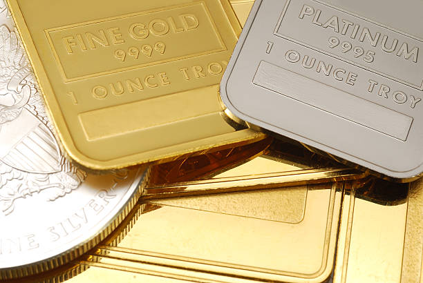 Gold, Platinum and silver - close-up stock photo