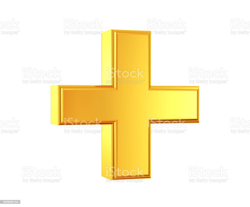 Gold Plus Symbol stock photo