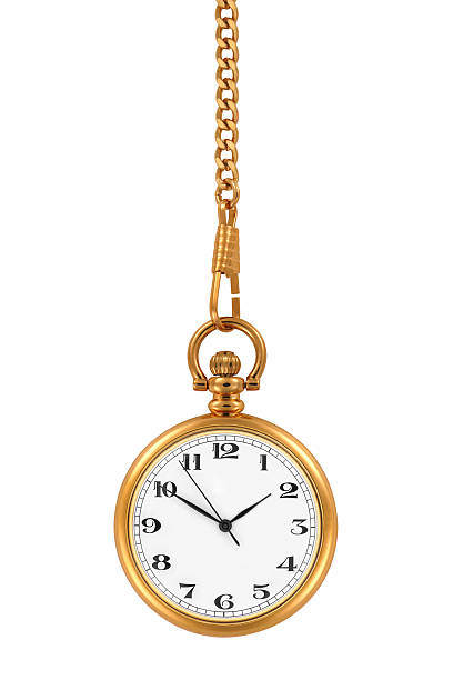 a gold pocket watch at time 150 hanging down - chain object stock photos and pictures