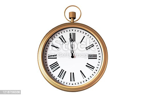 Gold pocket watch on white background