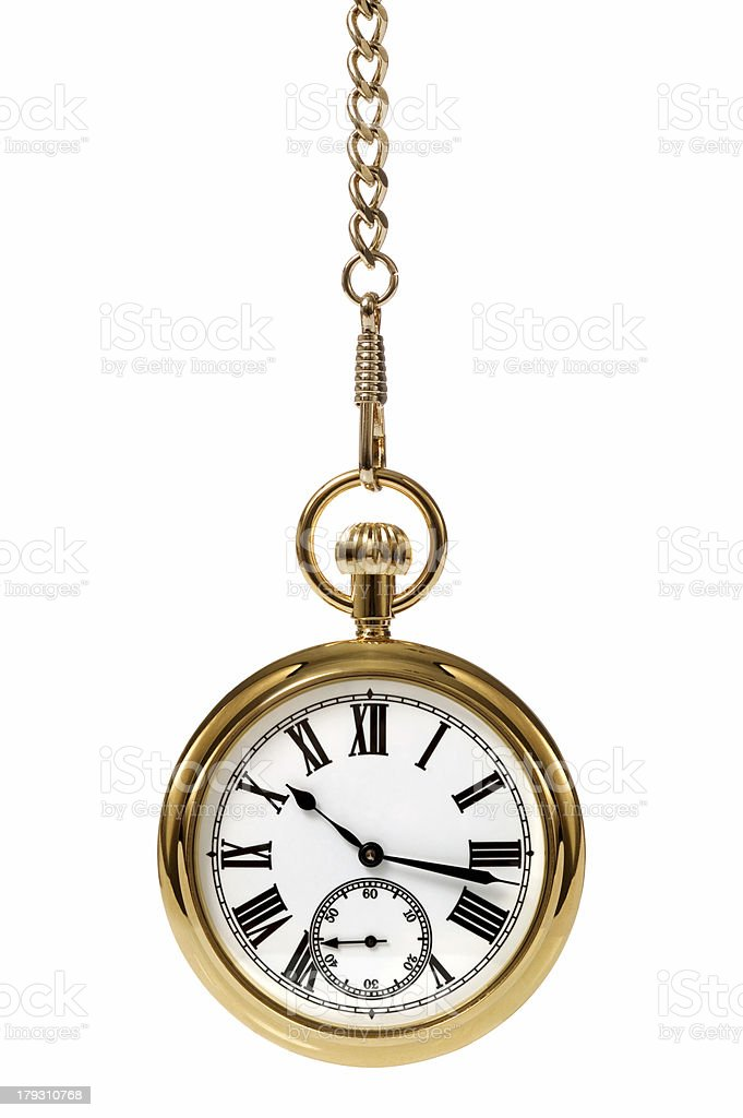 Gold pocket watch with Roman numerals on white background  stock photo