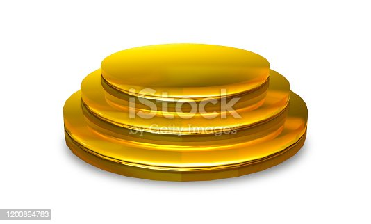 175960311 istock photo Gold podium isolated on white background with clipping path. Abstract round golden on award ceremony. 3d rendering design for display product on website. Empty pedestal for advertising and banner. 1200864783