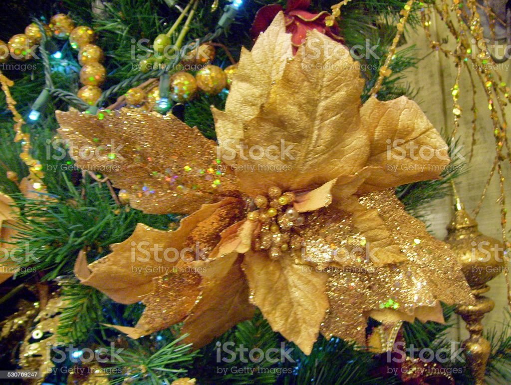 gold poinsettia with glitter on a christmas tree royalty free stock photo