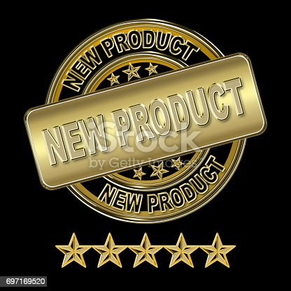 istock gold premium new product badge sign in 3D, isolated against the dark black background 697169520