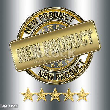 istock gold premium new product badge sign in 3D, isolated against the fancy silver background 697169502