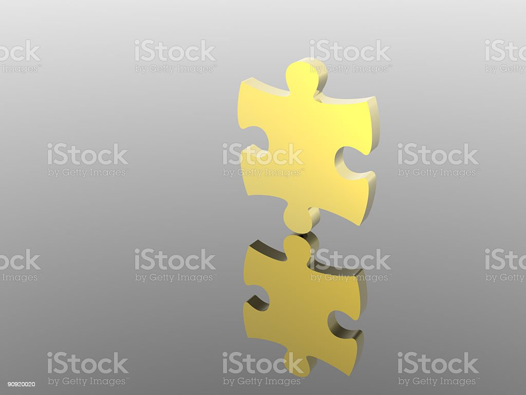 Gold puzzle royalty-free stock photo