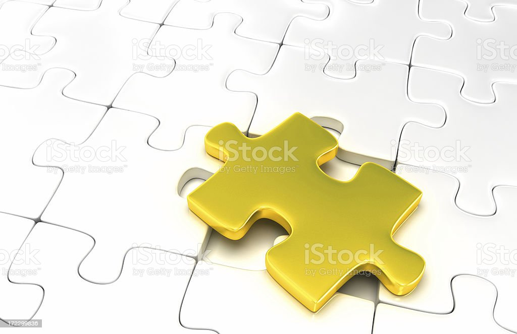 Gold Puzzle Piece royalty-free stock photo