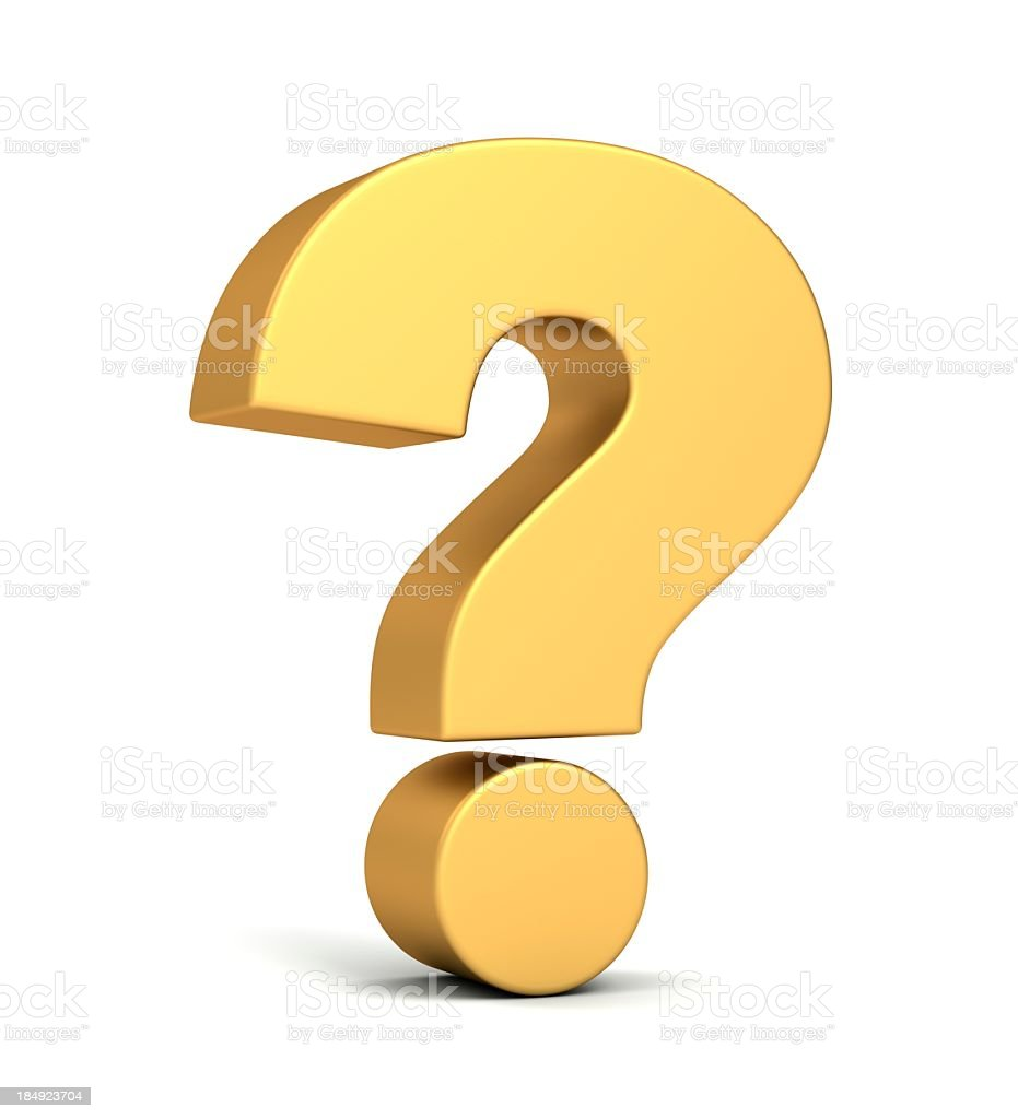 Gold question mark stock photo