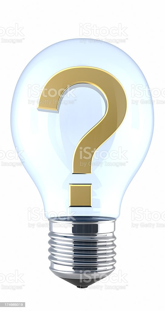 Gold question sign with light bulbs royalty-free stock photo