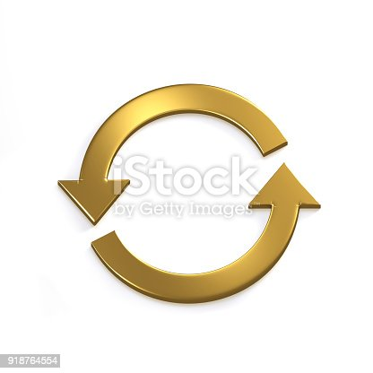 istock Gold Recycling Circular Arrows. Gold. 3D Render Illustration 918764554