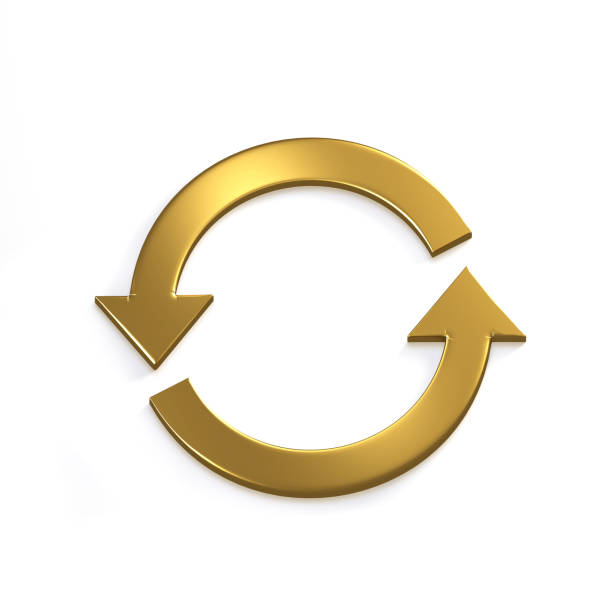 Gold Recycling Circular Arrows. Gold. 3D Render Illustration stock photo