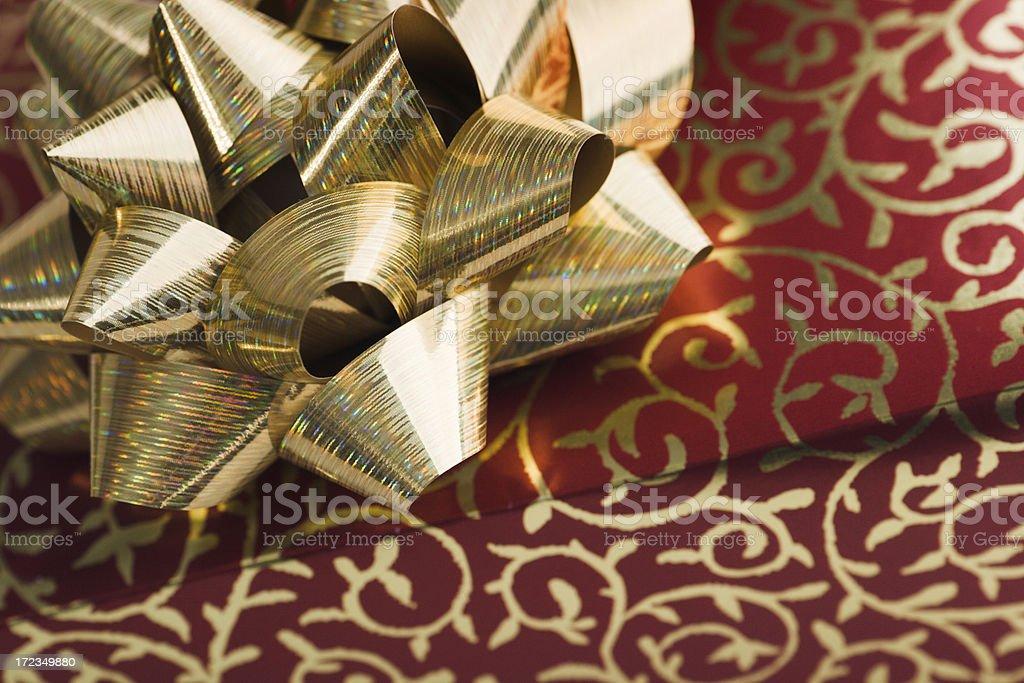 Regalo de navidad oro & rojo foto de stock libre de derechos