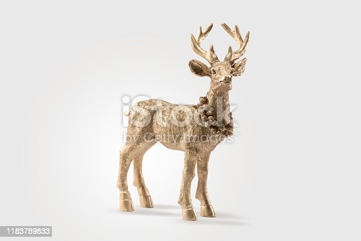 istock Gold Red deer, reindeer, christmas / autumn picture, isolated on white background, decoration, postcard, wall paper 1183789833