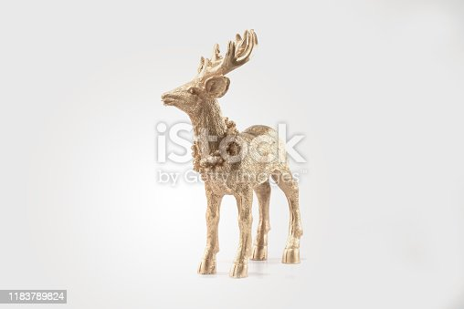 istock Gold Red deer, reindeer, christmas picture, isolated on white background, decoration, postcard, wall paper 1183789824