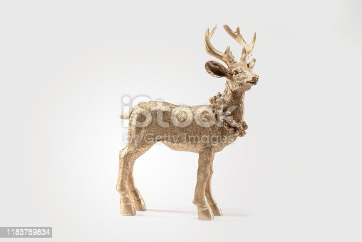 istock Gold Red deer, reindeer, christmas picture, isolated on white background, decoration, postcard, wall paper 1183789834