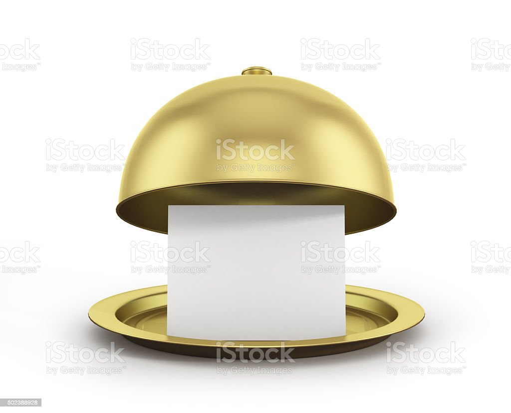 Gold restaurant cloche with paper template stock photo