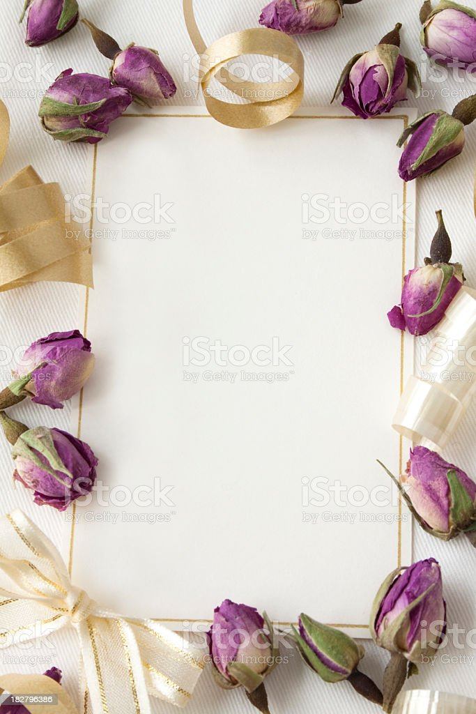 Gold Ribbon And Purple Floral Blank Invitation Template Stock Photo