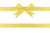 istock Gold ribbon bow isolated on white background 1079764610