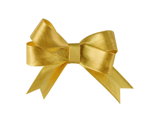 goldene schleife isoliert auf weiss - weihnachtlich dekorieren stock-fotos und bilder