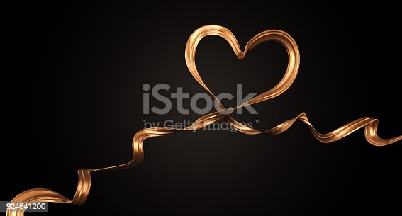 istock Gold ribbon in form of Heart shape 924641200