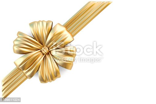 istock A gold ribbon on a white surface  139511024