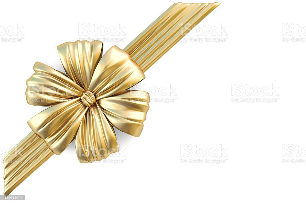 A gold ribbon on a white surface  stock photo