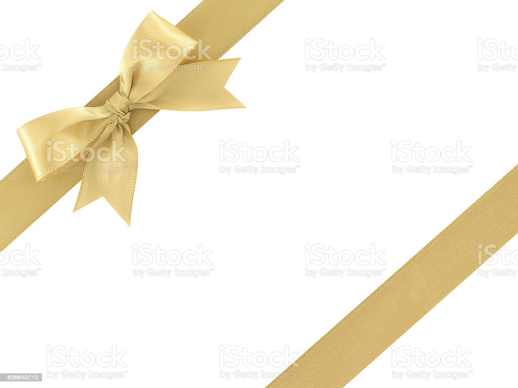 gold ribbon with bow isolated on white background – Foto