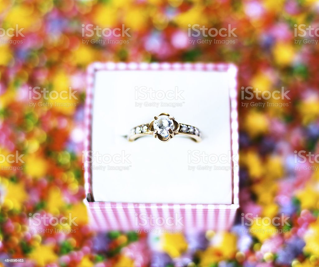gold ring, bright background royalty-free stock photo