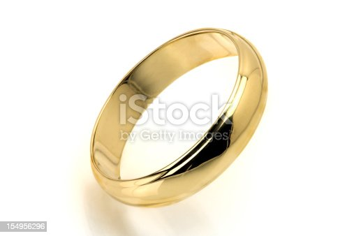 Gold Ring on White Background.