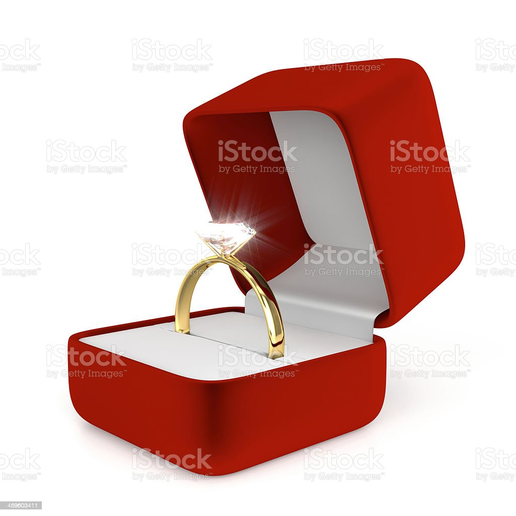 Gold Ring with Red Box stock photo