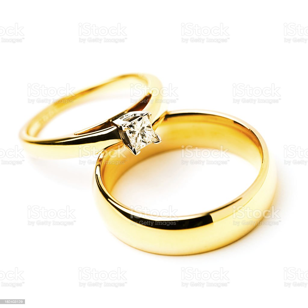 Gold rings with a diamond stock photo