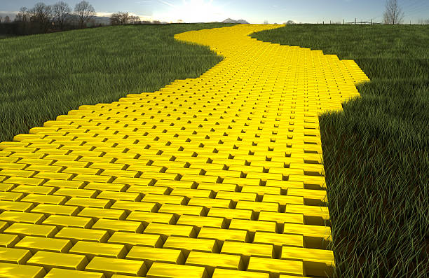 gold road - yellow stock photos and pictures
