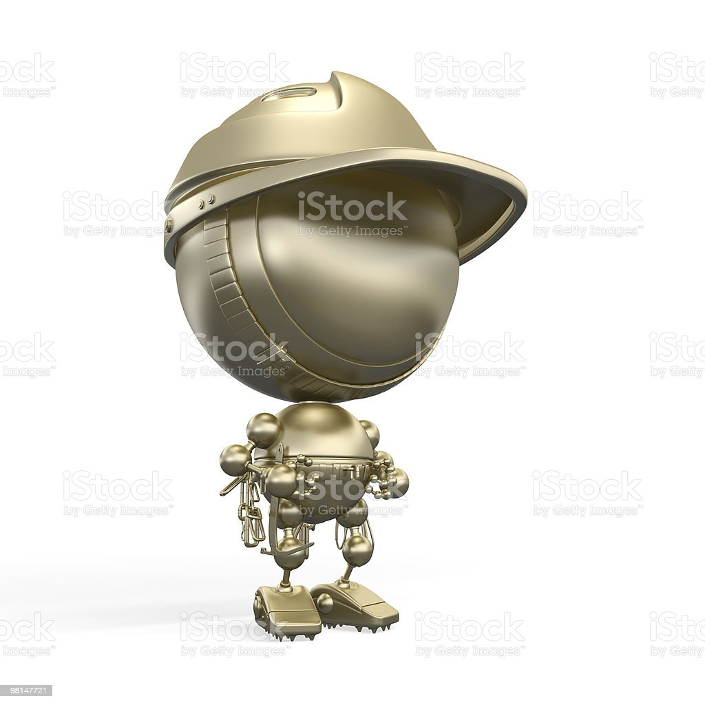 Gold robot alpinist with professional equipment royalty-free stock photo