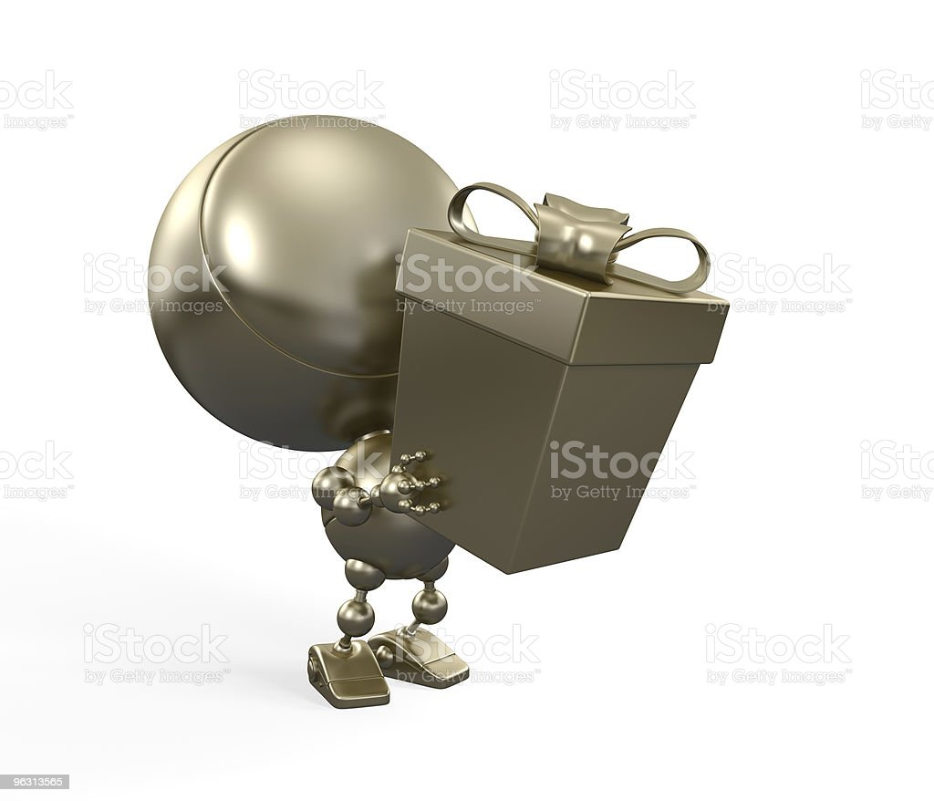 Gold robot with big gift. Congratulations! royalty-free stock photo