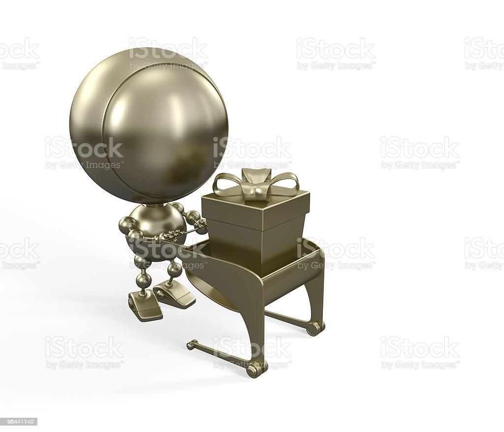 Gold robô com presente no carrinho - Foto de stock de Androide royalty-free