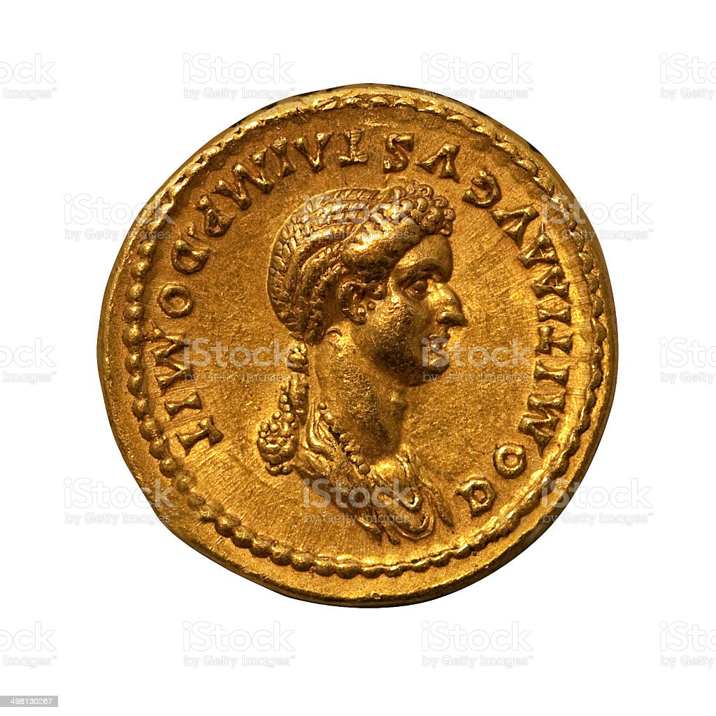 Gold Roman Coin isolated on white stock photo