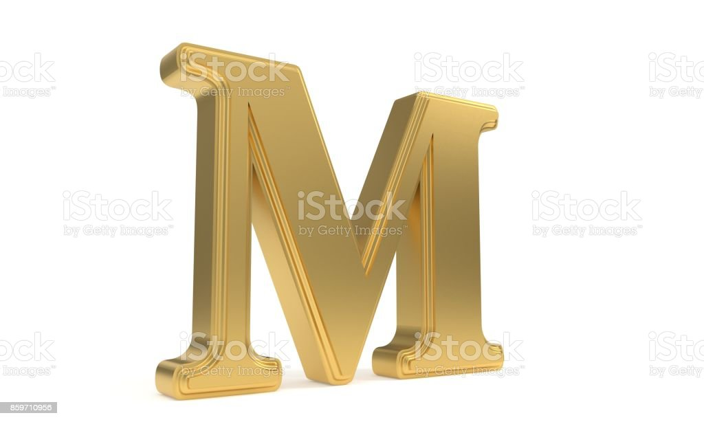 M gold romantic alphabet, 3d rendering stock photo