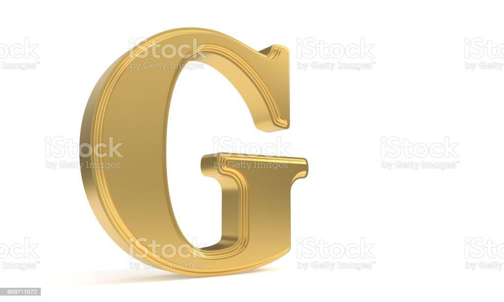 G gold romantic alphabet, 3d rendering stock photo