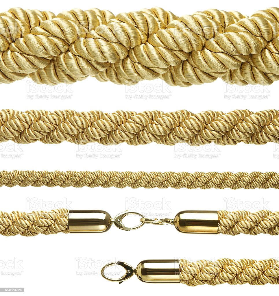 Gold ropes isolated on white stock photo