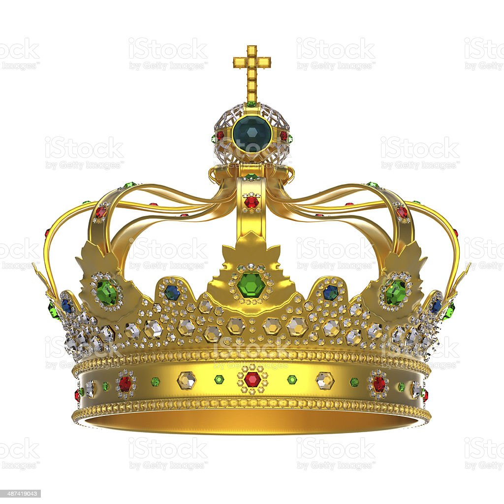 Gold Royal Crown with Jewels stock photo