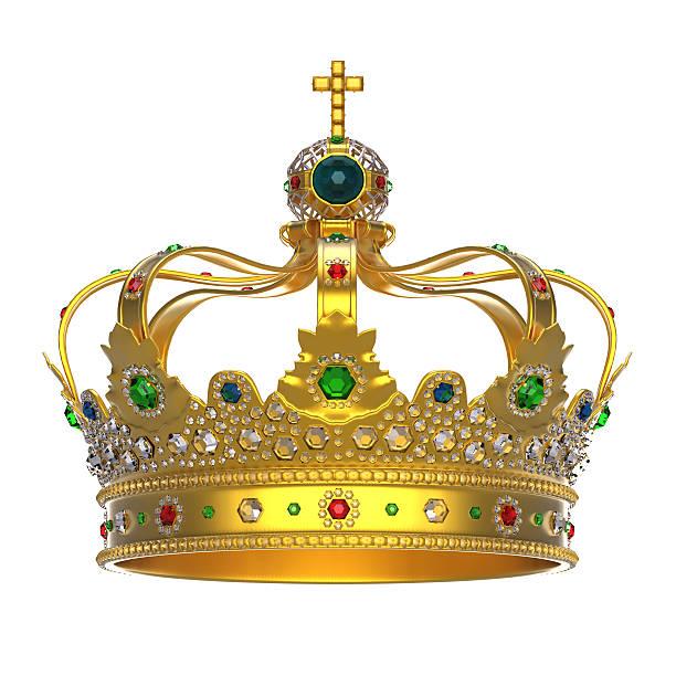 gold royal crown mit perlen - prinzenkrone stock-fotos und bilder