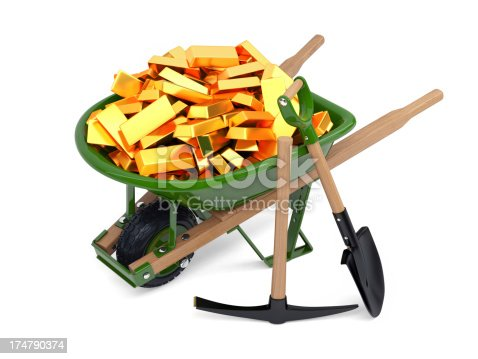 Three dimensional model of wheelbarrow loaded with gold, spade and pickaxe. Isolated on white.