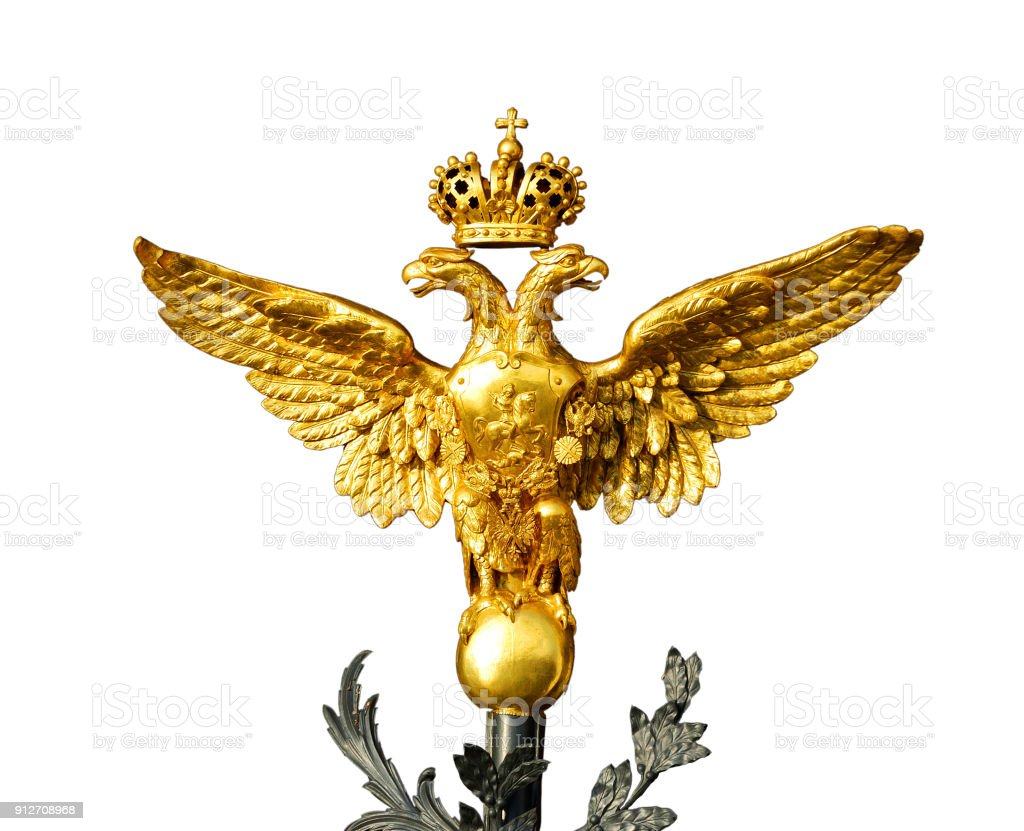 gold russian double-headed eagle isolated on white background stock photo
