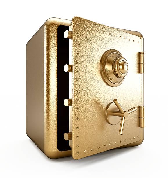 gold safe (hälfte geöffnet) - safe stock-fotos und bilder