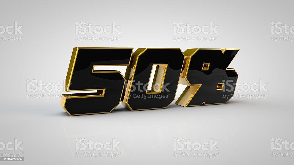 50% gold sale 3d render - foto de acervo