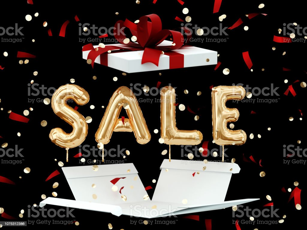 Gold Sale text and open gift box on black, discount banner stock photo