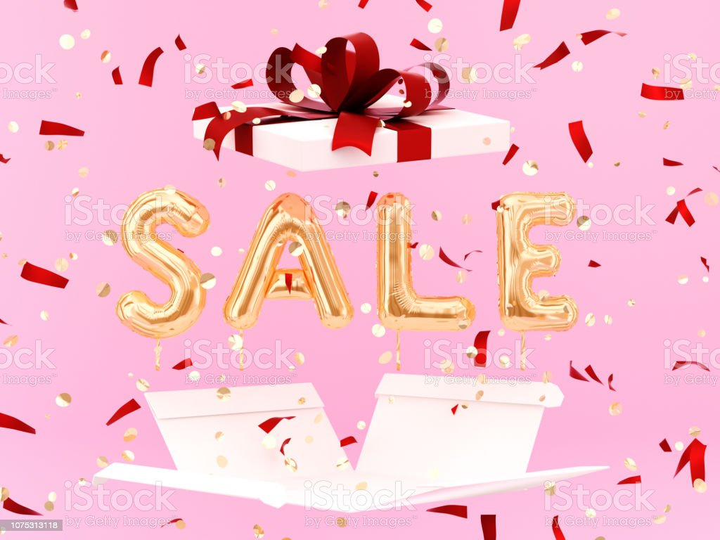Gold Sale text and opening gift box stock photo