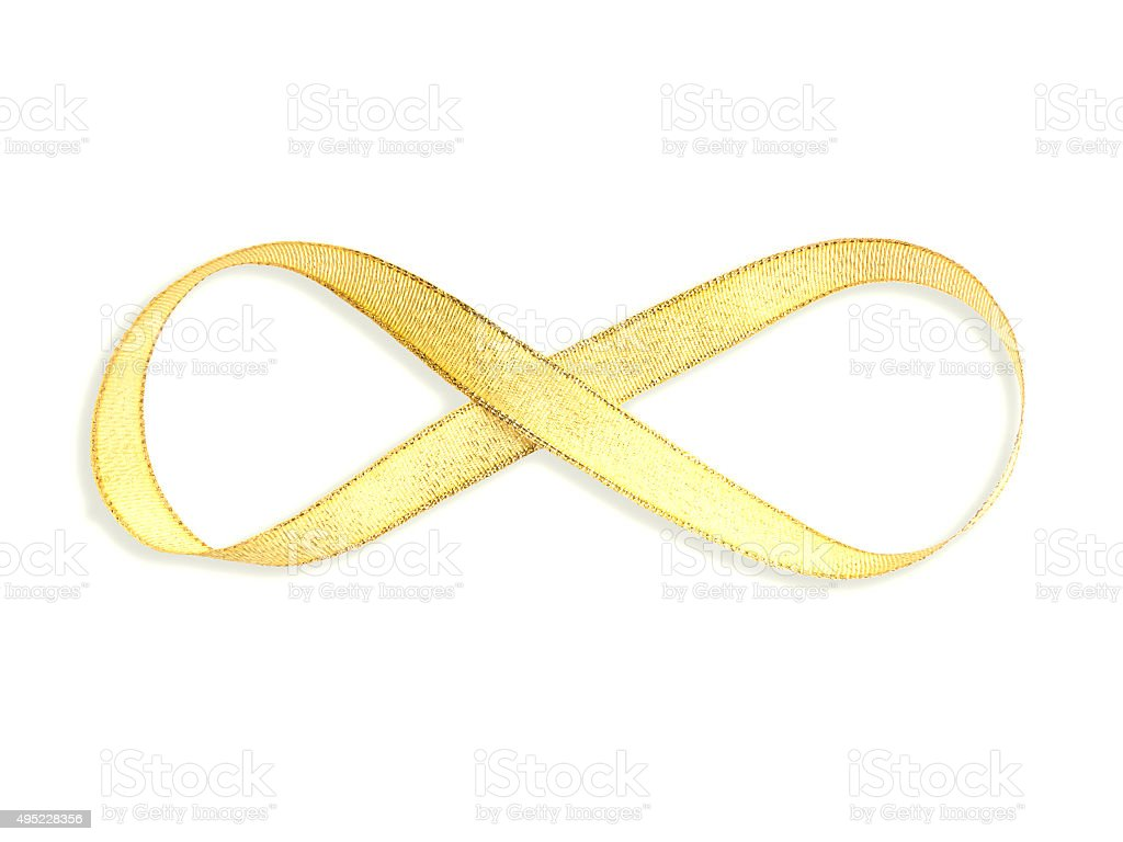 gold satin ribbon with infinity shape stock photo